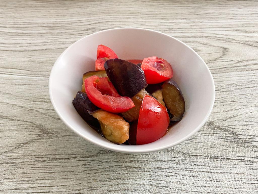 月曜断食 良食日メニュー なすとトマトの甘酢中華風